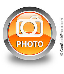 Photo (camera icon) glossy orange round button