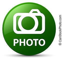 Photo (camera icon) green round button