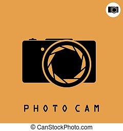 Photo camera icon on dark organge background, 2d simple...