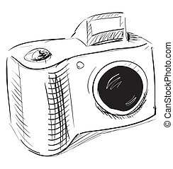 Photo camera icon - Hand drawing sketch. Eps 10 vector...