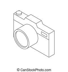 Photo camera icon, isometric 3d style