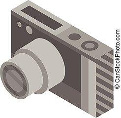 Photo camera icon, isometric style