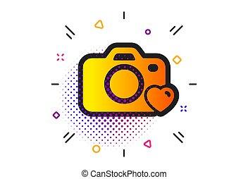 Photo camera icon. Love photography sign. Heart. Vector