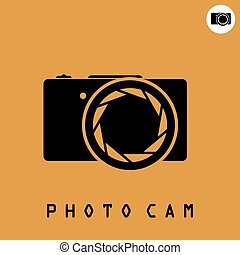 Photo camera icon on dark organge background, 2d simple...