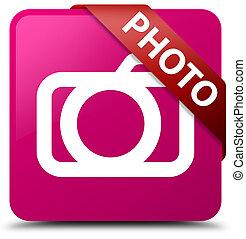 Photo (camera icon) pink square button red ribbon in corner