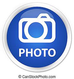 Photo (camera icon) premium blue round button