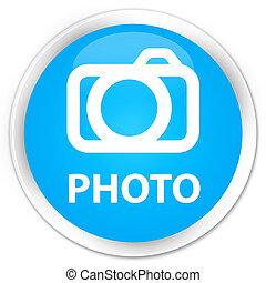Photo (camera icon) premium cyan blue round button