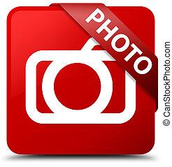 Photo (camera icon) red square button red ribbon in corner