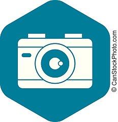 Photo camera icon, simple style