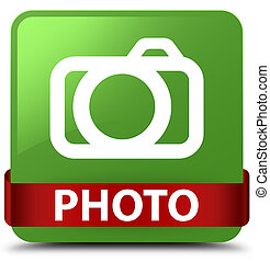 Photo (camera icon) soft green square button red ribbon in middle