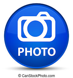 Photo (camera icon) special blue round button