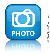 Photo (camera icon) special cyan blue square button