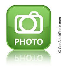 Photo (camera icon) special soft green square button
