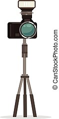 Photo camera icon. Vector flat cartoon illustration