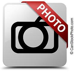 Photo (camera icon) white square button red ribbon in corner