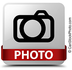 Photo (camera icon) white square button red ribbon in middle