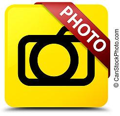 Photo (camera icon) yellow square button red ribbon in corner