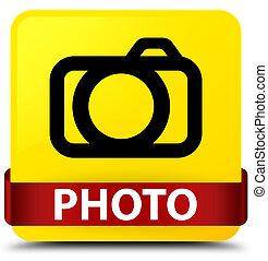 Photo (camera icon) yellow square button red ribbon in middle