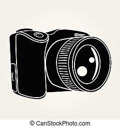 Photo camera isolated on white background.