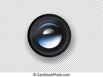 Photo camera lens vector illustration on dark background