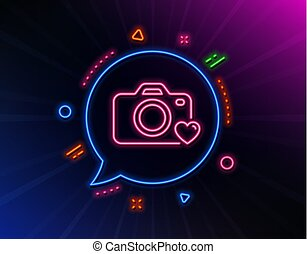 Photo camera line icon. Love photography sign. Heart. Vector