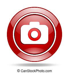photo camera red web glossy round icon