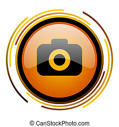 photo camera round design orange glossy web icon