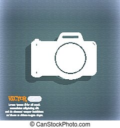 Photo camera sign icon. Digital photo camera symbol. On the blue-green abstract background with shadow and space for your text. Vector