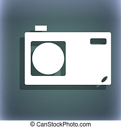 Photo camera sign icon. Digital symbol. On the blue-green abstract background with shadow and space for your text.