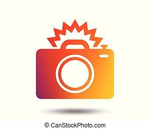 Photo camera sign icon. Photo flash symbol. Blurred gradient...