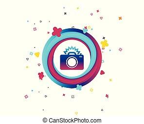 Photo camera sign icon. Photo flash symbol. Colorful button ...