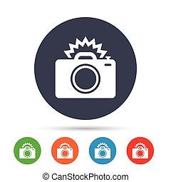 Photo camera sign icon. Photo flash symbol. Round colourful ...