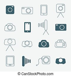 Photo Camera Simple Vector Icons Set