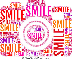 photo camera smile, vector - photo camera with colorful...
