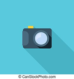Photo camera symbol. Vector illustration of flat color icon with long shadow.