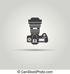 Photo camera top view isolated vector black icon, dslr...