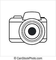 Photo camera vector icon, line icon