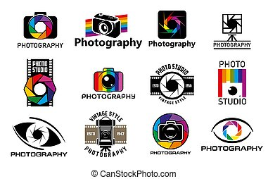 Photo camera vector icons of photography studio