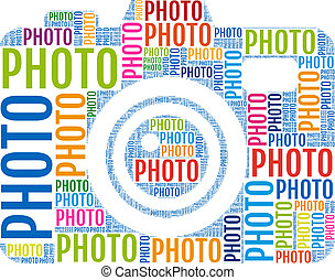 photo camera, vector - photo camera with colorful words, ...