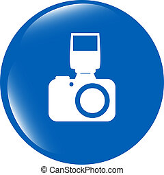 photo camera web icon, button isolated on white