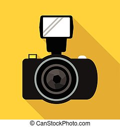 Photo camera with flash icon, flat style