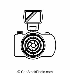 Photo Camera with flash icon, outline style