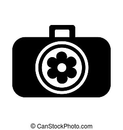 Photo camera with flower in the lens icon