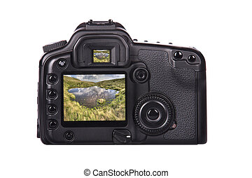 Photo camera with landscape on a screen