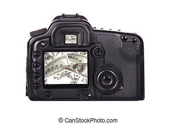 Photo camera with money on a screen