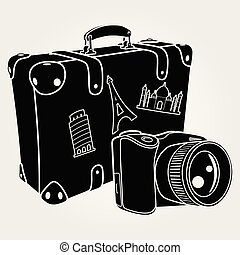 Photo camera with retro suitcase isolated on white background. Vector illustration