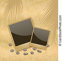 Photo card on sand background, old style - Illustration...