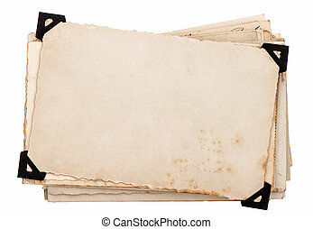 photo card with black corner. old grungy paper sheets