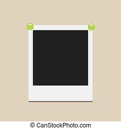 Photo Card With Drawing Pin - Empty Photo Card Pinned With...
