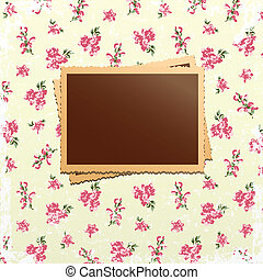 Retro photo cards on delicate floral background